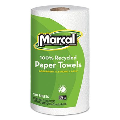 "Marcal 6210 100% Recycled Paper Towels, 2 Ply, 8.8"" x 11"", 210 Perforated Sheets / Jumbo Roll, White - 12 / Case"