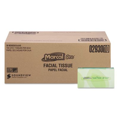 Soundview 2930 Marcal Pro Fluff Out 2 Ply Facial Tissue, 100 Sheets / Flat Box - 30 / Case