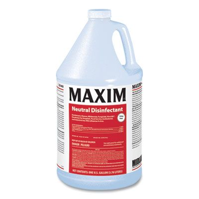 Midlab 4020041 Maxim Neutral Disinfectant, Lemon Scent, 1 Gallon Bottle - 4 / Case