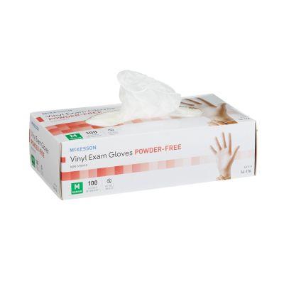 McKesson 14-116 Vinyl Exam Gloves, Powder Free, Smooth, Medium, Clear - 100 / Case