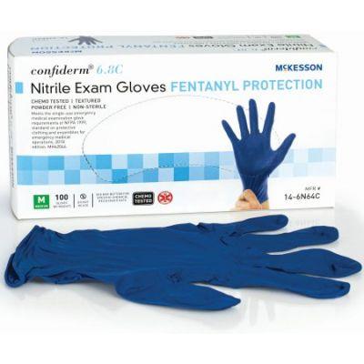 McKesson 14-6N64C Confiderm 6.8C Nitrile Exam Gloves, Powder-Free, Medium, Chemo Tested, Blue - 100 / Case