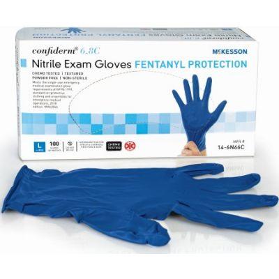 McKesson 14-6N66C Confiderm 6.8C Nitrile Exam Gloves, Powder-Free, Large, Chemo Tested, Blue - 1000 / Case