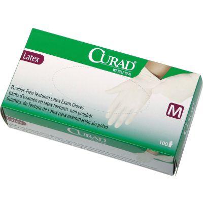 Medline CUR8105 Latex Exam Gloves, Powder Free, Medium, White - 100 / Case
