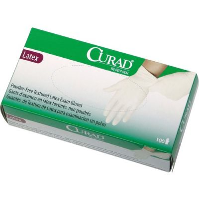 Medline CUR8106 Curad Latex Exam Gloves, Powder Free, Large,  White - 100 / Case