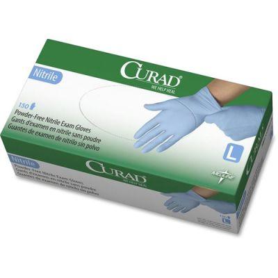 Medline CUR9316 Curad Nitrile Exam Gloves, Powder-Free, Large, Blue - 150 / Case