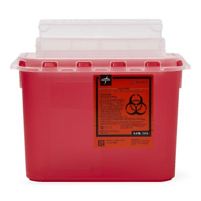 Medline MDS705153H Biohazard Sharps Disposal Container for Patient Room, 5 Quart, Plastic, Red - 4 / Case