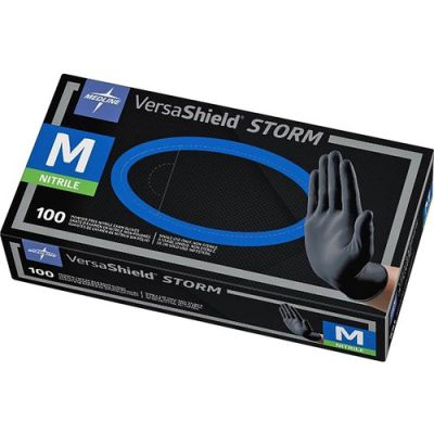 Medline MG6112 Nitrile Exam Gloves, Powder Free, Medium, Black - 100 / Case