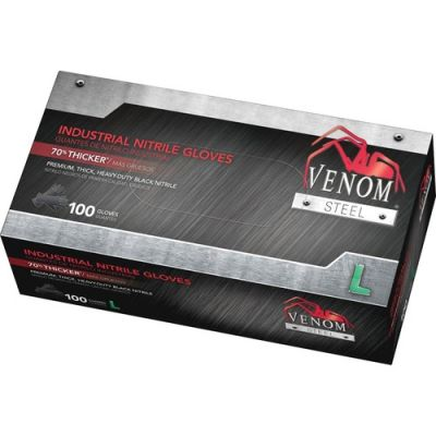 Medline VEN6143N Venom Industrial Nitrile Gloves, 6 Mil, Large, Black - 100 / Case