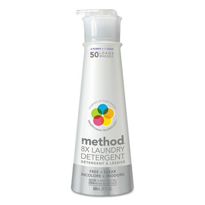 Method 01126 8X Free & Clear Laundry Detergent Liquid, 20 oz Bottle - 6 / Case