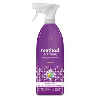 Method 1454 Antibacterial All Purpose Cleaner, Wildflower, 28 oz Spray Bottle - 8 / Case