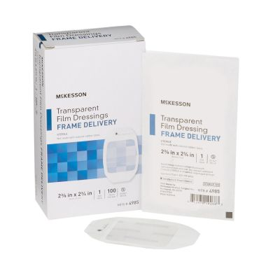 "McKesson 4985 Transparent Film Dressings, Frame Delivery, 2-3/8"" x 2-3/4"" Octagon, Sterile - 100 / Case"
