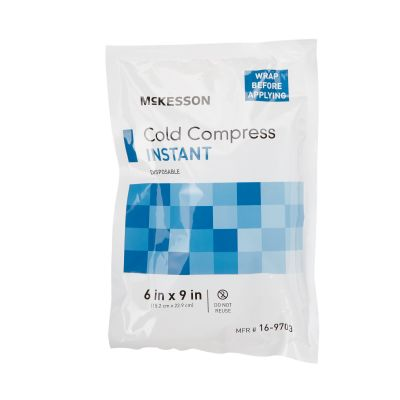 """McKesson 16-9703 Instant Cold Compress Pack, 6"""" x 9"""", Single-Use Disposable - 24 / Case"""