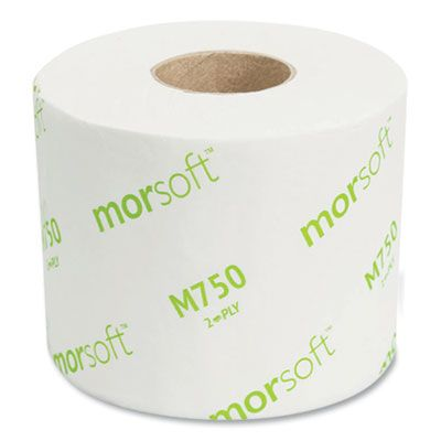 """Morcon M75036 MorSoft Toilet Paper, 2 Ply, 3.9"""" x 4"""", 750 Sheets / Roll - 36 / Case"""