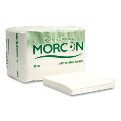 """Morcon B8500 Morsoft Paper Beverage Napkins, 1 Ply, Recycled, 9"""" x 9.25"""", White - 4000 / Case"""