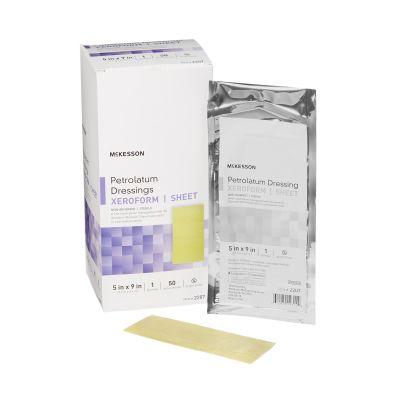 "McKesson 2207 Xeroform Petrolatum Dressings, Sheet Gauze w/ Bismuth Tribromophenate, 5"" x 9"", Sterile - 50 / Case"