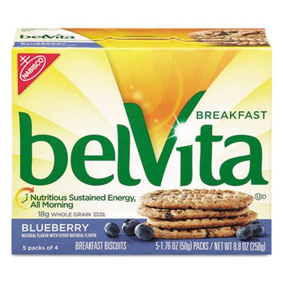 Nabisco Food 2908 Belvita Breakfast Biscuits, Blueberry Flavor, 1.76 oz Pack - 64 / Case