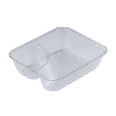 Dart C56NT2 ClearPac Nacho Snack Trays with 2 Compartments, Clear - 500 / Case