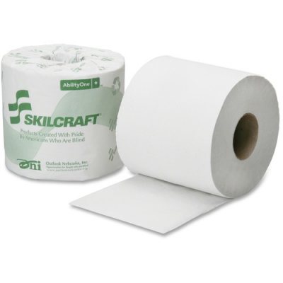 """SKILCRAFT 6308728 Toilet Paper, 1 Ply, Recycled, 4"""" x 3.75"""", 1000 Sheets / Standard Roll, White - 96 / Case"""