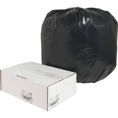 "Nature Saver 996 45 Gallon Trash Can Liners / Garbage Bags, Recycled, 1.65 Mil, 40"" x 46"", Black - 100 / Case"