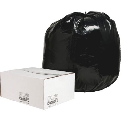 "Nature Saver 997 56 Gallon Trash Can Liners / Garbage Bags, Recycled, 1.65 Mil, 43"" x 48"", Black - 100 / Case"
