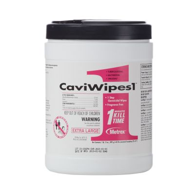 """Metrex Research 13-5150 CaviWipes1 Surface Disinfectant Wipes, Premoistened Alcohol, XL 9"""" x 12"""" - 65 / Case"""