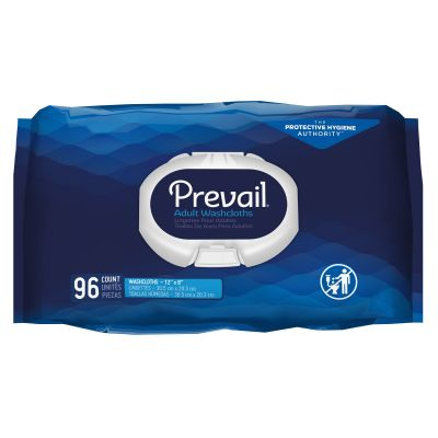 """First Quality WW-720 Prevail Adult Washcloths / Personal Wipes, Premoistened, 12"""" x 8"""", Scented - 576 / Case"""