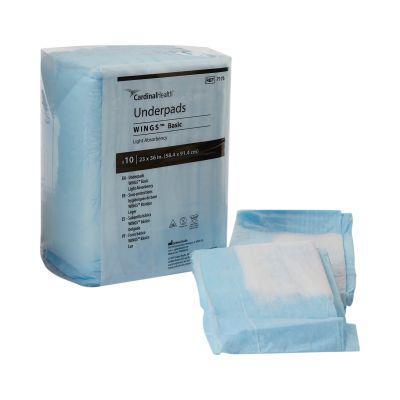 "Cardinal Health 7176 Simplicity Basic Underpads, 23"" x 36"", Disposable, Fluff, Light Absorbency, White / Light Blue - 150 / Case"