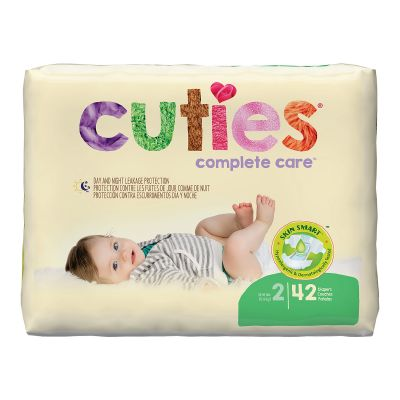 First Quality CR2001 Cuties Baby Diapers, Unisex, Size 2 (12 to 18 lbs), Heavy Absorbency - 168 / Case