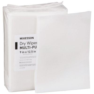 """McKesson 46085 Task Wipe, Medium Duty, 9"""" x 12.5"""", White- 768 / Case"""