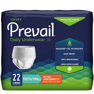 """First Quality PV-511 Prevail Daily Absorbent Underwear, Unisex, Small / Youth (20 to 34""""), Moderate Absorbency - 22 / Case"""