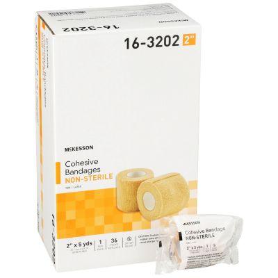 "McKesson 16-3202 Cohesive Wrap Bandage, 2"" x 5 Yds Roll, Self-Adherent Closure, Tan - 36 / Case"