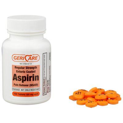 McKesson 60-921-01 Geri-Care Pain Relief, 325 mg Strength Aspirin Tablet - 1200 / Case