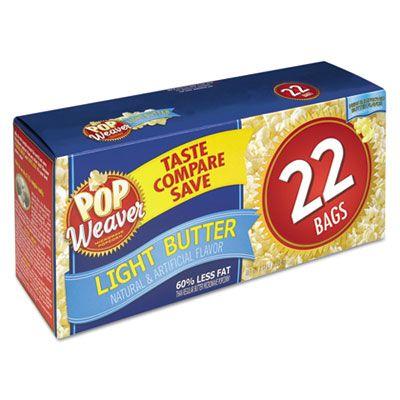 Office Snax 105511 Pop Weaver Microwave Popcorn with Light Butter, 2.5 oz Bag - 22 / Case