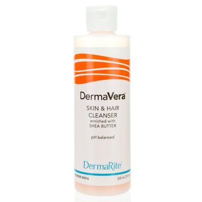DermaRite 0016 DermaVera Shampoo & Body Wash, Scented, 7.5 oz Flip Top Bottle - 48 / Case