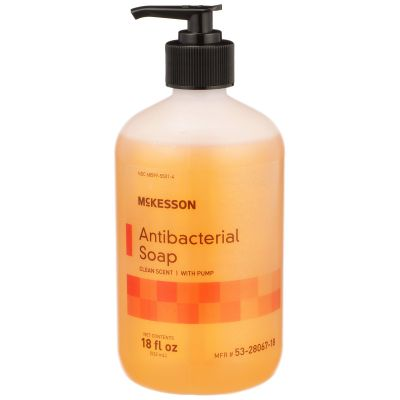 McKesson 53-28067-18 Antibacterial Soap, Liquid, Clean Scent, 18 oz Pump Bottle - 12 / Case