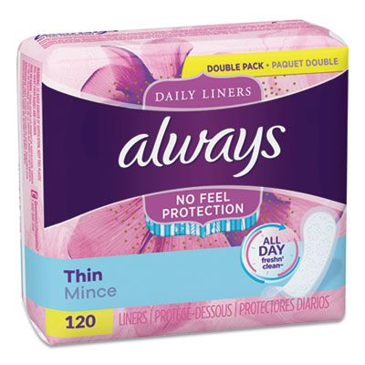 P&G 10796 Always Thin Daily Panty Liners, Regular, 120 Pack - 6 / Case