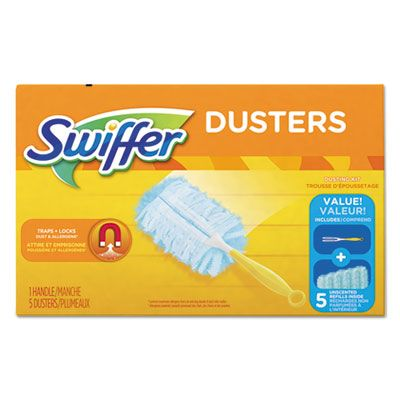 "P&G 11804 Swiffer Duster Starter Kit, 5 Blue Dusting Heads, 1 6"" Yellow Handle - 6 / Case"