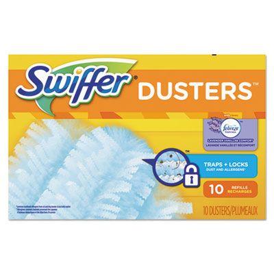 P&G 21461 Swiffer Refill Dusters, DustLock Fiber, 10 / Box, Lavender Vanilla Scent, Light Blue - 4 / Case