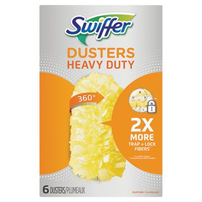 P&G 21620 Swiffer Heavy Duty Duster Head Refills, 360 Degree, 6 / Box, Unscented, Yellow - 4 / Case