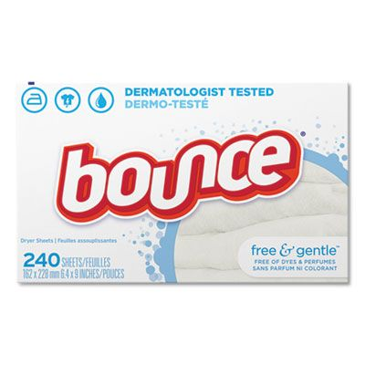 P&G 24684 Bounce Free & Gentle Dryer Fabric Softener Sheets, 240 / Box, Unscented - 6 / Case
