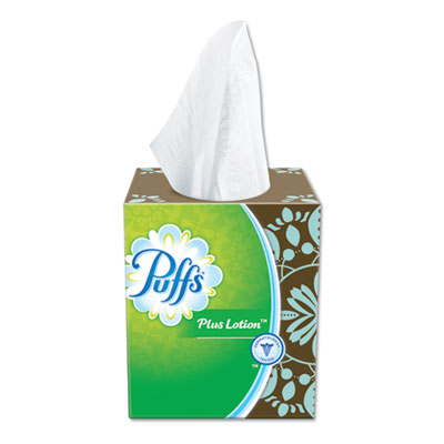 P&G 34899 Puffs Plus Lotion Facial Tissue, 1 Ply, 56 Sheets / Cube Box, White - 24 / Case