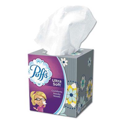 "P&G 35038 Puffs Ultra Soft Facial Tissue, 2 Ply, 56 Sheets / Cube Box, 8.2"" x 8.4"", White - 24 / Case"
