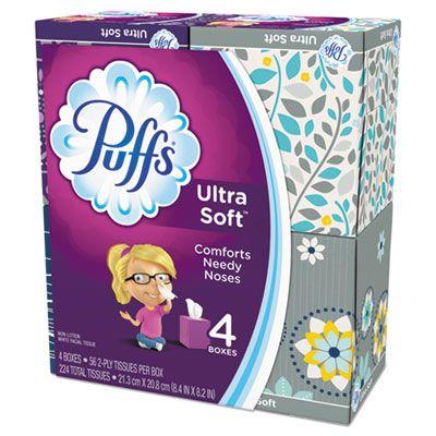 P&G 35295 Puffs Ultra Soft Facial Tissue, 2 Ply, 56 Tissues / Cube Box, White - 24 / Case
