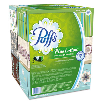 "P&G 39383 Puff Plus Lotion Facial Tissue, 2 Ply, 8.2"" x 8.4"", 124 Tissues / Box - 24 / Case"