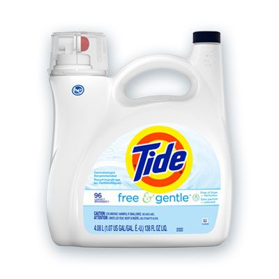 P&G 41967 Tide Free & Gentle Liquid Laundry Detergent, 96 Loads, 138 oz Pump Bottle, Unscented - 4 / Case