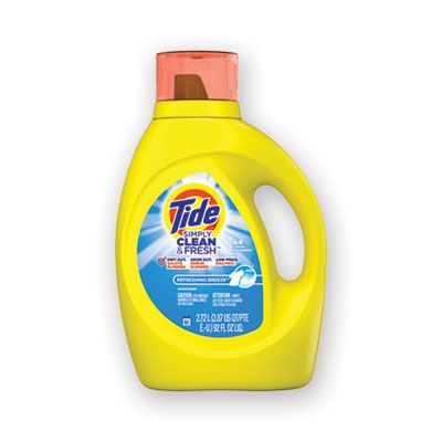 P&G 44206 Tide Simply Clean and Fresh Liquid Laundry Detergent, 64 Loads, Refreshing Breeze Scente, 92 oz Bottle - 4 / Case