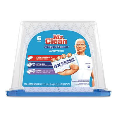 """P&G 51098 Mr Clean Magic Erasers, Variety Pack, 2.4"""" x 4.6"""", 6 / Pack, White / Blue - 3 / Case"""
