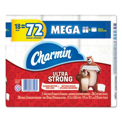 "P&G 52084 Charmin Ultra Strong Toilet Paper, 2 Ply, 3.92"" x 4"", 286 Sheets / Standard Roll, White - 18 / Case"