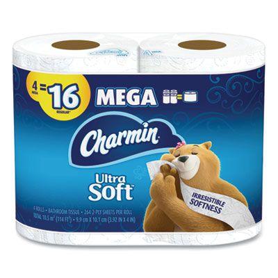 "P&G 52769 Charmin Ultra Soft Toilet Paper, 2 Ply, 4"" x 3.92"", 264 Sheets / Mega Roll - 24 / Case"