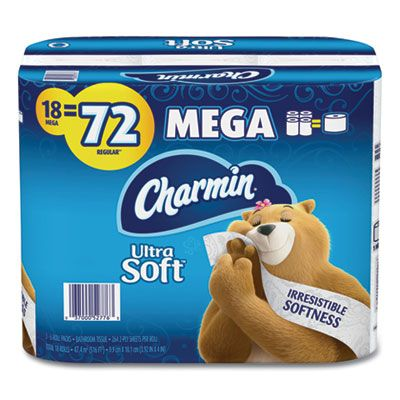"""P&G 52776 Charmin Ultra Strong Toilet Paper, 2 Ply, 4"""" x 3.92"""", 264 Sheets / Roll, White - 18 / Case"""